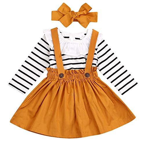Xmiral Småbarn flicka kläder set långärmad randig sparkcykel strumpkjol båge pannband