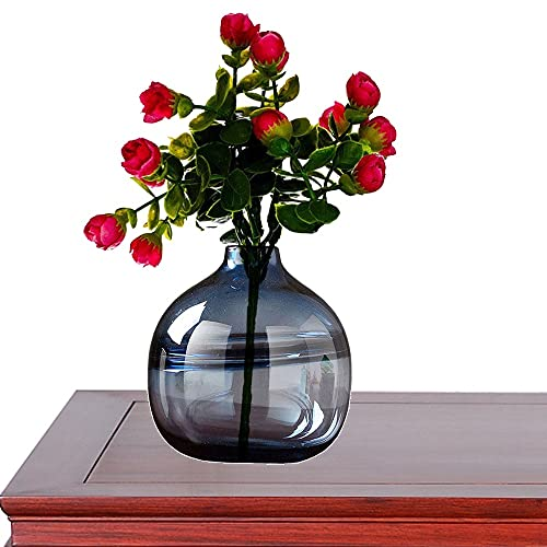 LXLAMP Jarrones Decorativos de Suelo, floreros Decorativos Modernos florero Cristal Alto Jarrones de Flores, Elegante Decoración para la Decoración del Escritorio - Altura 20 cm (Color : Smoky Blue)