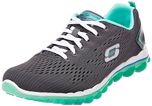 Skechers Sport Women's Skech Air Aim High Fashion Sneaker,Charcoal Mesh/Turquoise Trim,8.5 M US