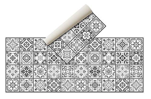 Alfombra Vinílica Hidráulica (200 x 80 cm, Negro-Gris)- Distintos Colores y tamaños - Alfombra Cocina- Alfombra baño - Alfombra Comedor Antideslizante - Alfombra Dormitorio - Esponjosa y Suelo PVC