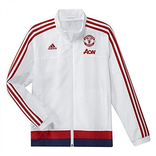 adidas Herren Fußballjacke MUFC PRE Jacket Y Trainingsjacke, Schwarz/Weiß, 128