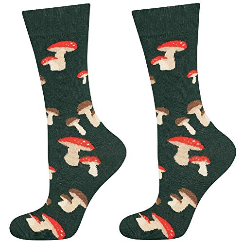 soxo Herren Bunte Muster Socken | Größe 40-45 | Motivsocken aus Baumwolle | Lustige Geschenk für Männer (Pilze)