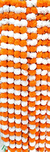 ZT|Indian Lovely Home Decorative Flower Mala for decore Your Home in Festival 12 Pcs 1 Meter Each.Garlands (Dark Orange & White)