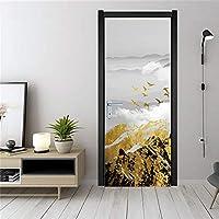 ドアステッカードアデカール3D 山のドアのステッカーの壁紙防水ポスターウォールステッカー家の装飾