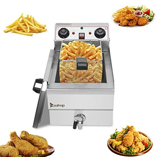 Electric Deep Fryer with Basket, Stainless Steel, Easy to Clean Deep Fryer, Oil Filtration, Professional Grade, with Timers and Thermostats (12.5QT/11.8L,Single Tank)