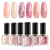 BORN PRETTY Nail Polish 6 Colors Set - Nude Color Rose Gold Glitter Pink Sequins Nail Lacquer Collection