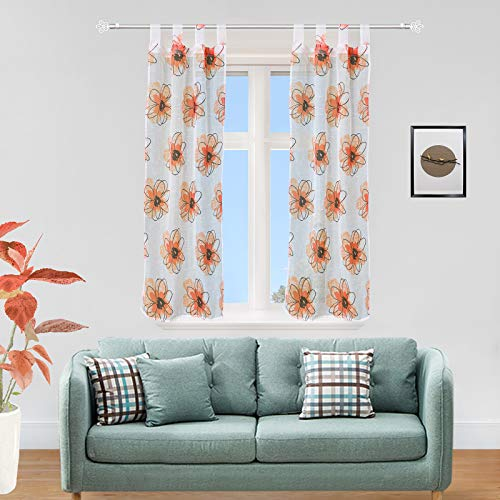 GIRASOLE Coppia Tendine semitrasparenti con Fiori Stampati 1 Telo 2 Pannelli 70x150cm con Passanti (Arancione, 70_x_150cm)