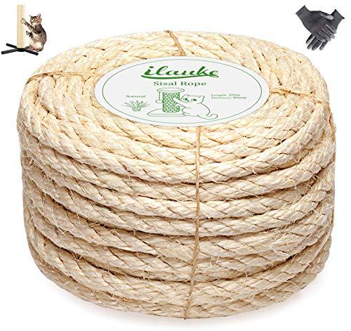 Homewit Corde en sisal pour arbre à chat, 8 mm, corde en sisal naturel de 25 m avec une paire de gants de protection pour le jardinage, la tour à chat, l'arbre à chat, l'arbre à chat, poteau à chat
