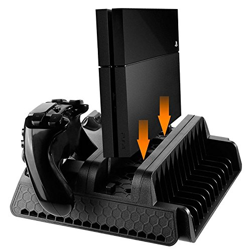 Eleganantamazing - Soporte Vertical con Ventilador de refrigeración y estación de Carga para PS4/PS4 Slim/PS4 Pro