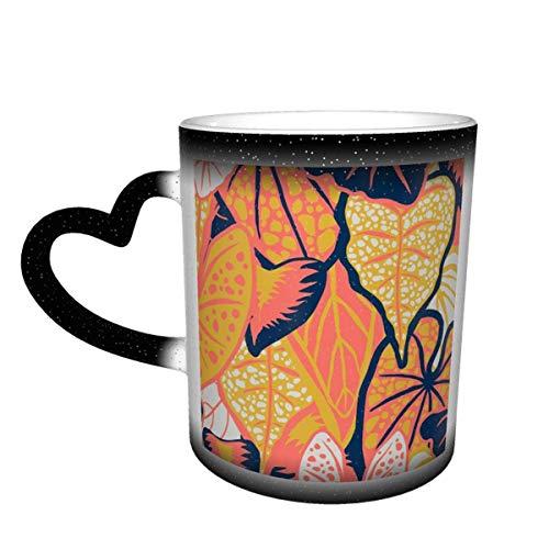 Taza de café de cerámica que cambia el calor, paleta de follaje tropical limitada, taza de té mágica sensible para café, té, leche o cacao para hombres y mujeres