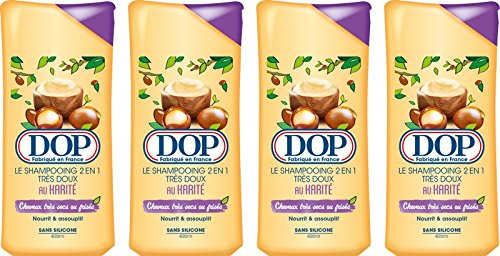 DOP Shampoo, sehr weich, Karité: 2 in 1, sehr trockenes/gelocktes Haar, 400 ml, 4 Stück