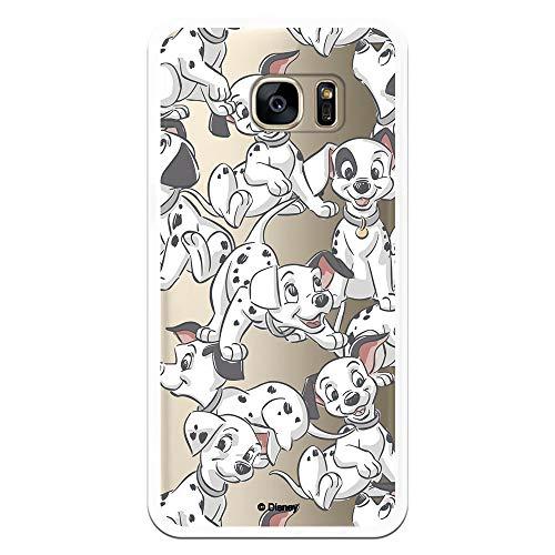 Funda para Samsung Galaxy S7 Edge Oficial de 101 Dálmatas Cachorros Siluetas para Proteger tu móvil. Carcasa para Samsung de Silicona Flexible con Licencia Oficial de Disney.