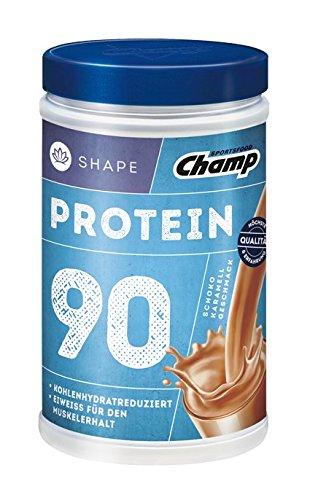 Champ Shape Protein 90 Eiweißshake, 24 g Protein pro Portion, Schoko - Karamell, 390 g Portion