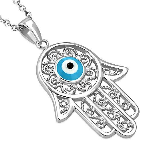 925Argento Sterling filigrana donna blu Evil eye Hamsa Pendant Necklace