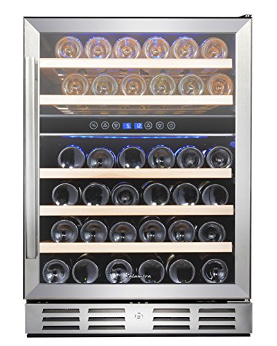 Kalamera 24'' 46-bottle Wine Cooler Refrigerator Built-in Dual Zone, Stainless Steel Door & Handle