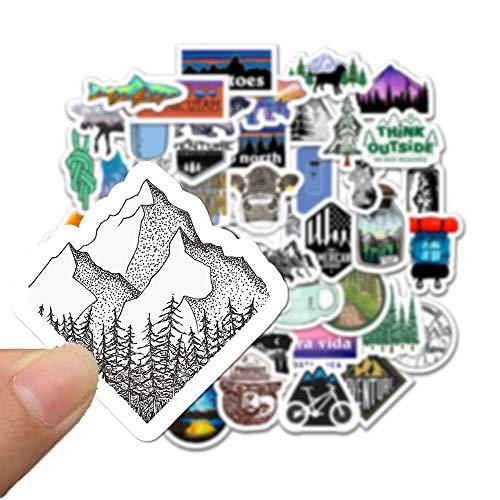 WOCAO 50 PZ Campeggio Viaggi Adesivi Wilderness Adventure Outdoor Paesaggio Impermeabile Decalcomania per Valigia Del Computer Portatile Auto Motore