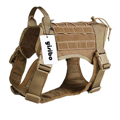 "yisibo Comfortable Molle Tactical Dog Harness Military K9 Working Water-Resistant Hiking Dog Vest with Handle,Large (27.5""-34.5"