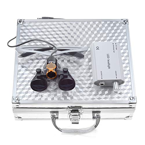 TopSeller歯科 双眼ルーペ拡大鏡(3.5倍)+クリップ式LEDヘッドライト 強力タイプ 5W 精度高い 充電式 光学拡大鏡 光学ルーペ ポータブル拡大鏡 ポータブルルーペ 虫眼鏡 軽量 フィルター付き 装着便利 収納アルミボックス付き (銀)