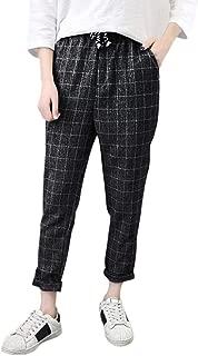 RAINED-Fashion Women Casual Harem Pants, Vintage Plaid Lace Up Pants Loose Plus Size Full Length Pants Slim Long Pant