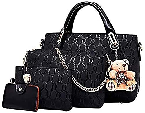 Conjunto de bolsa de cuero de PU de 4 piezas con asa superior para mujer (bolsa grande, bolso, bandolera, tarjetero), Negro