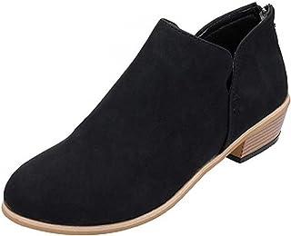 6f99e041273f02 Bottine Femmes Plates Boots Femme Cheville Basse Cuir Bottes Talon Chelsea  Chic Compensé Grande Taille Chaussures
