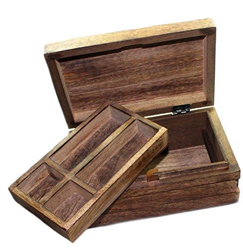 budawi-® - Holz Box aus Mangoholz mit Einlage Schmuckschatulle Schatulle Schatzkiste Trickbox