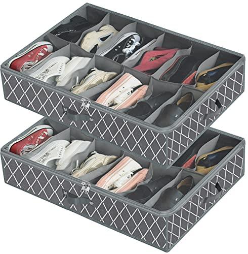 Cajonera para debajo de la cama con tapa transparente – Bolsa de almacenamiento de zapatos fuerte caja de almacenamiento de zapatos gris 2 unidades