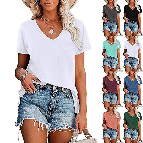 Camisa Mujer Camiseta Mujer Elegante Cómodo Color Puro Simple con Cuello En V Blusa Suelta Y Transpirable Verano Sexy Tela Suave Camiseta Fresca Y Transpirable De Manga Corta A-White S