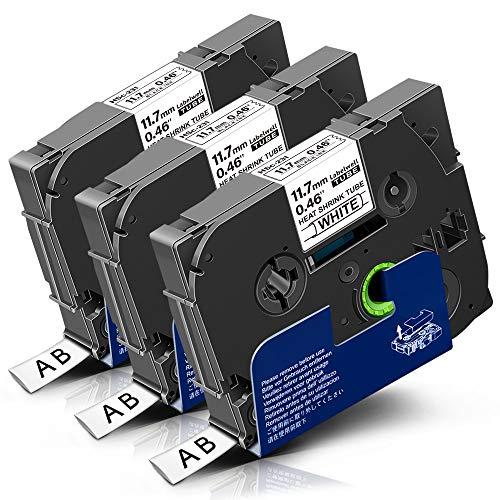 3x Labelwell 11.7mm x 1.5m Schrumpfschlauch Kompatibel Schriftband Ersatz für Brother HSe-231 HSe231 Schwarz auf Weiß für Brother P-touch Cube Plus PT-D210VP D600VP D400VP H107B P700 D200DW PT-H105WB