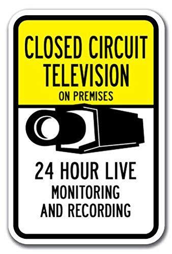Kysd43Mill Señal de vigilancia y grabación en vivo de 24 horas con circuito cerrado de TV, señales de advertencia de metal divertidas, señal de propiedad privada, para decoración del hogar, señal de seguridad de aviso, señal de garaje de 8 x 12 pulgadas