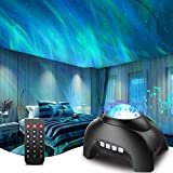 Proyector Estrellas, Galaxy Proyector con Bluetooth y Blanco Ruido LED Aurora Lampara de Estrellas Remoto luz Nocturna para Habitación Fiesta Decoración, Control de voz para Niños Adultos - Negro