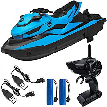 IOKUKI 2.4G RC Boats for Kids - Remote Control Boat for Kids and Adults for Lakes and Pools with 2 Batteries & 2 Charger Cables & Low Battery Prompt Motor Boat  Blue