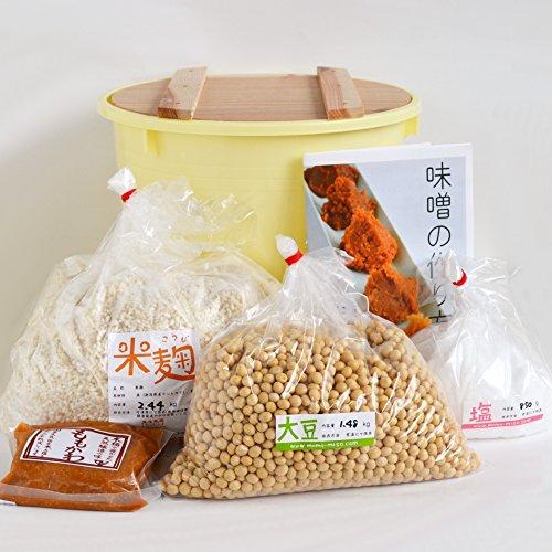 味噌手作りセット(やや甘口版)7kg用 樽付き(大豆1.48kg,米麹2.44kg,塩850g)