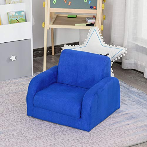 ADHW 2 In 1 Kids Sofa Armchair Chair Fold Out Flip Open Baby Bed Couch Toddler Sofa (Color : Blue)