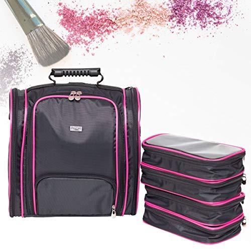 Maleta Térmica Rosa para Maquiagem Esmaltes Cosméticos + 4 Necessaire Organizadora