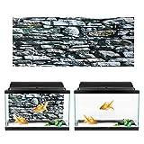 Oyunngs Imagen de Fondo del Acuario para pecera, póster de Pinturas de Efecto Muro de Piedra 3D, decoración de calcomanías de Pared subacuática Adhesivo de PVC