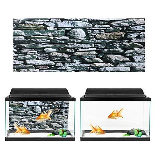 Oyunngs Aquarium Hintergrundbild für Aquarium, 3D-Effekt Steinmauer Gemälde Poster, Unterwasser Wandtattoo Dekoration PVC Kleber Aufkleber(122 * 50cm)