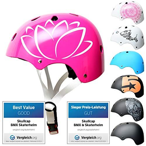 Skullcap® Skaterhelm Erwachsene Weiß SC Pink - Fahrradhelm Damen ab 14 Jahre Größe 55-58 cm - Scoot and Ride Helmet Adult White - Skater Helm für BMX Inliner Fahrrad Skateboard