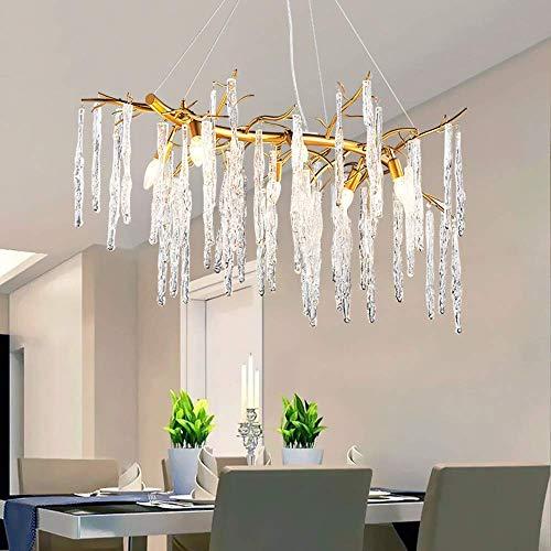 XIANGAI – Lámpara de techo colgante con forma de carámbanos, cristal, rectangular, dorado, 6 fuentes de luz, 95 x 35 x 40 cm
