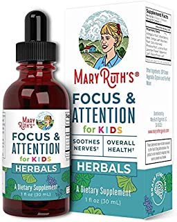 Focus and Attention - Brain Support for Kids by MaryRuth's | Focus & Attention Natural Supplements for Kids | Herbal Blend...