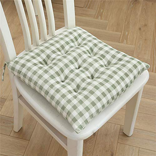 Nicole Knupfer Set of 2 Padded Chair Seat Cushions Chairs Pads Tie-On Seat Pad for Garden Patio Kitchen Dining (Green)