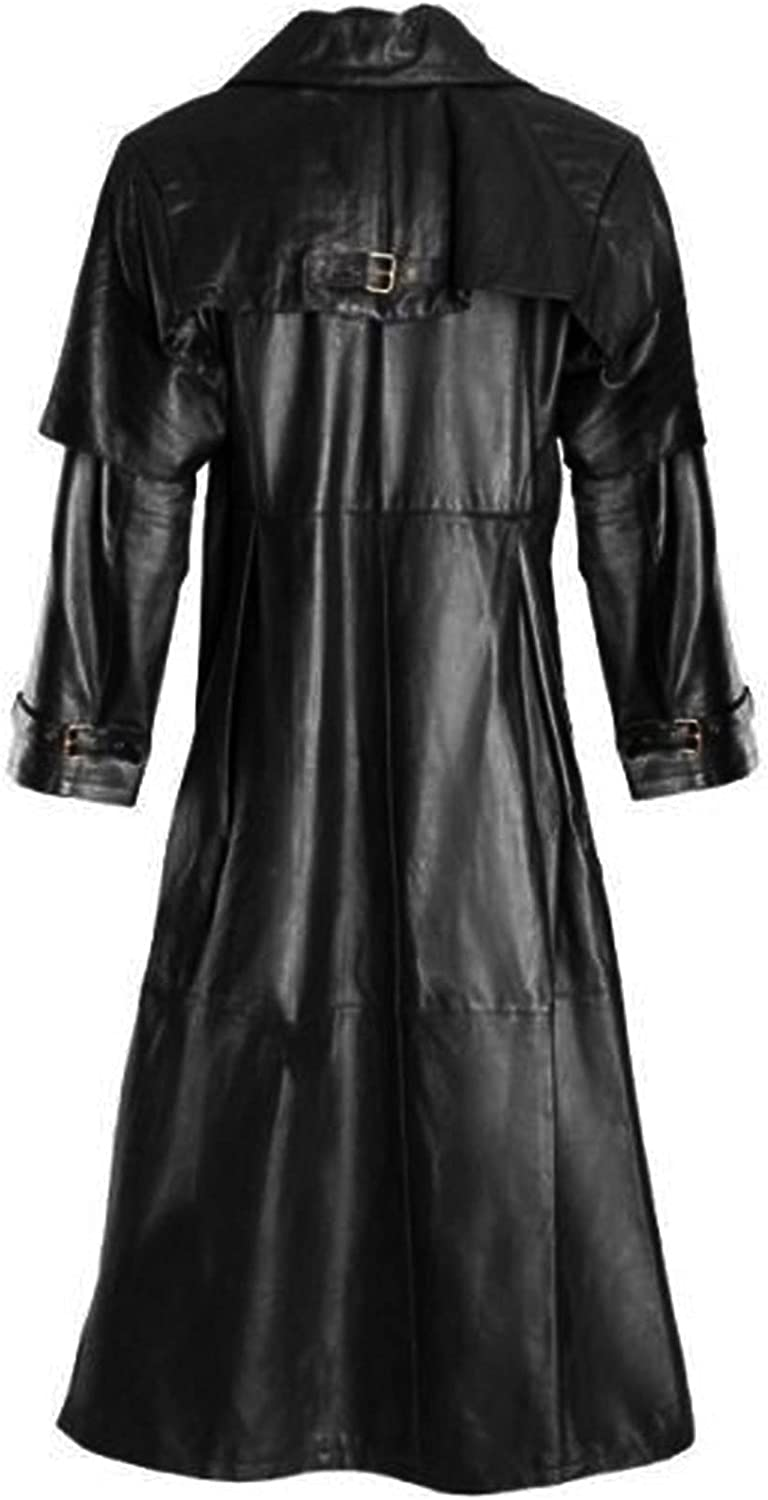 Men's Gothic Long Down Coat Faux Leather Jacket Trench Coats Button Down Windbreaker Overcoats Outerwear S-5XL