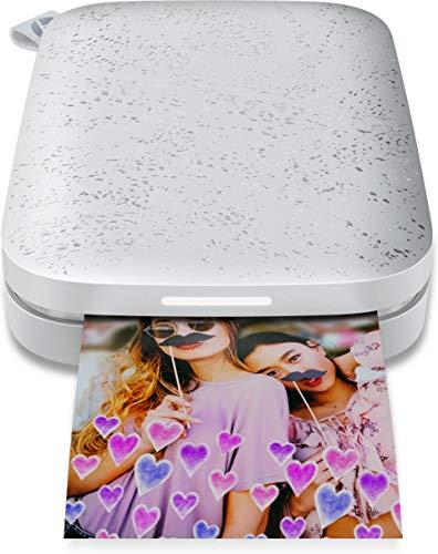 HP Sprocket Impresora fotográfica instantánea portátil de 5x7.6 cm, Imprima imágenes en Papel Adhesivo Zink Desde Sus Dispositivos iOS y Android, Blanco