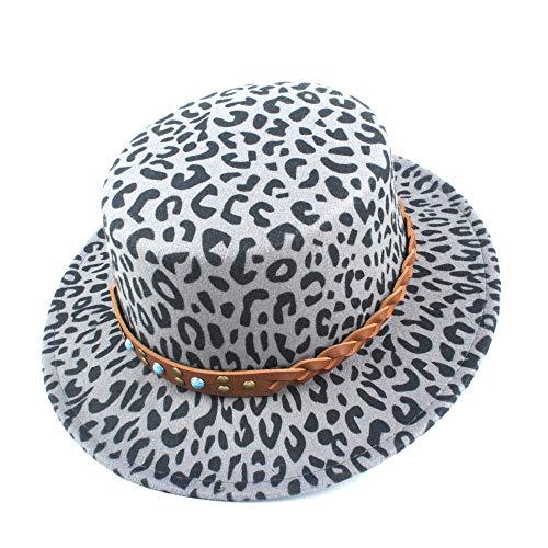 Bin Zhang Chapeau Fedora Flat Top Hat Retro Femmes Fille Ressenti Peu Profonde Fedora Flat Top Eglise Jazz Chapeau Bucket Cap d'automne Hiver Hommes (Color : Gray, Size : 56-58)