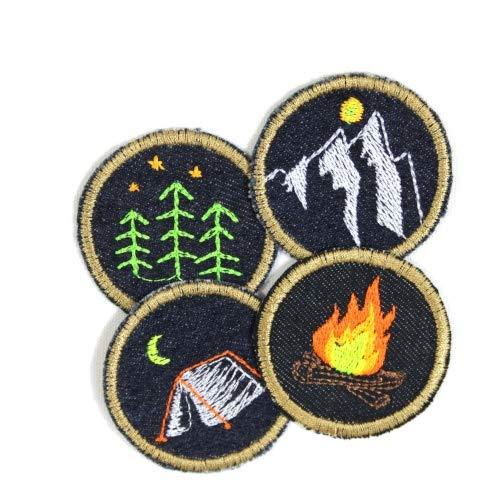 Flicken zum aufbügeln Set Natur Jeans patches 5cm ø Bügelbilder Feuer Wald Zelt Berg 4 Aufbügler Set Camping kleine runde Bügelflicken teilw. leuchtende Neonfarben