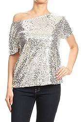 Silver Short Sleeve One Shoulder Sequin Top Blouse