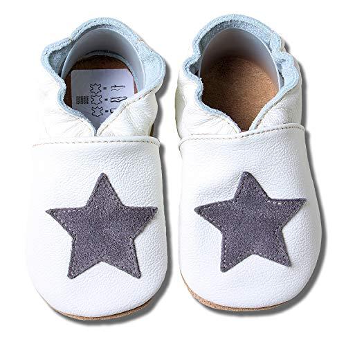 HOBEA-Germany Baby Krabbelschuhe, Lederschuhe, weiß mit grauem Stern, Schuhgröße:20/21 (12-18 Monate)