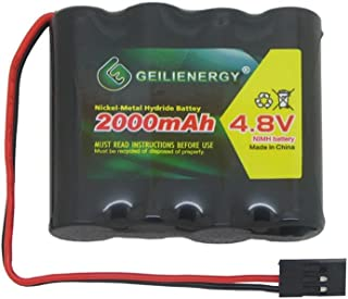 GEILIENERGY NiMH Receiver RX Battery with Hitec Connectors 4.8V 2000mAh High Capacity Rechargeable Battery Pack for RC Receivers, RC Aircrafts and More