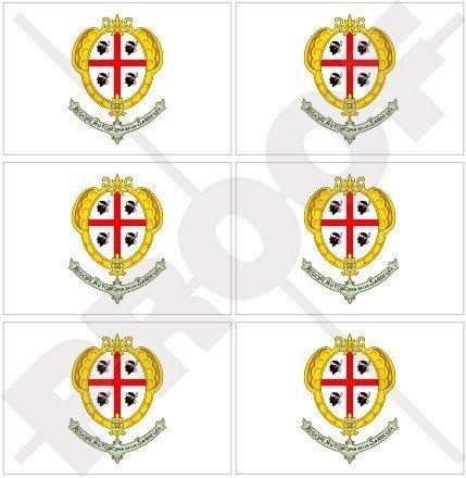 Région regione Sardaigne, drapeau sardaigne sarde italie italia 40 mm (40,6 cm) Téléphone Mobile Mini en vinyle autocollants, Stickers x6