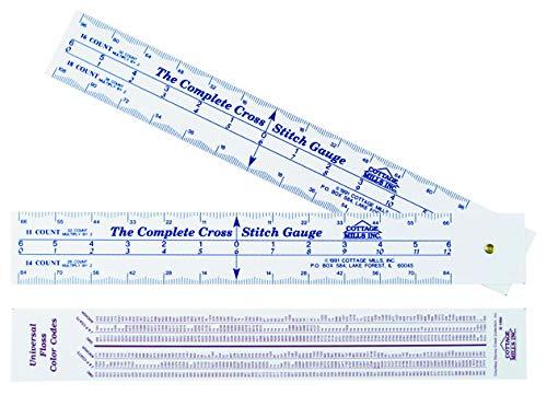 Calibrador de punto de cruz completo: escalas para 12 conteos de telas: cuenta de puntadas, determina las dimensiones y dónde comenzar el diseño. Bonus: tabla de comparación de números de hilo